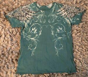 Affliction-Live-Fast-Blue-Green-Graphic-T-Shirt-Mens-Sz-Medium-Angel-Wings