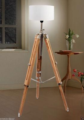 Marine Nautical Teak Wood Vintage Floor Lamp Wooden Tripod Stand Use Shade Ebay