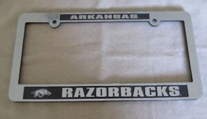 Arkansas Razorbacks Auto License Plate Tag Frame Chrome Film and Black