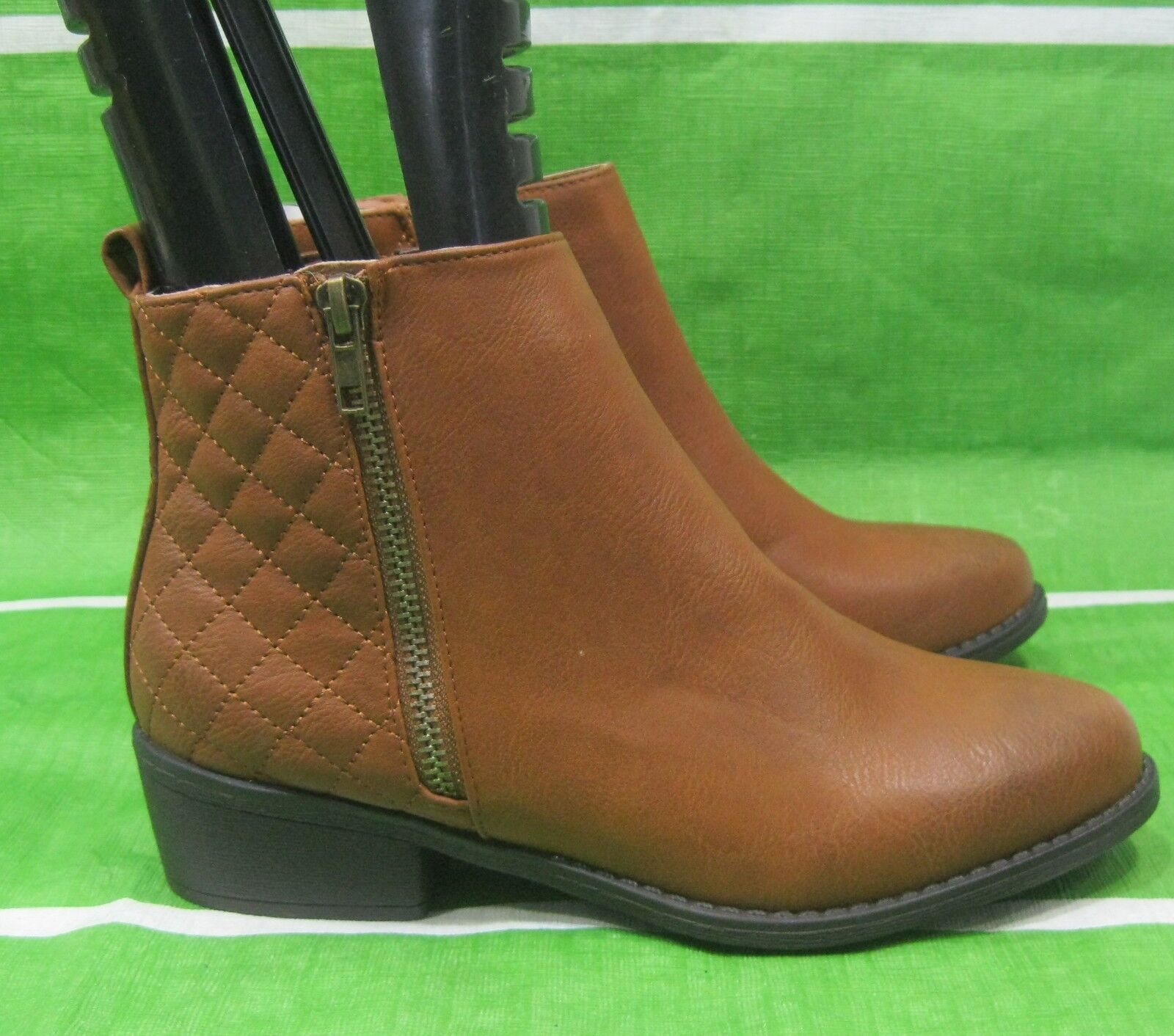 "new ladies Tan 2""block Heel Round Toe  Sexy Ankle Boot Size 6.5"