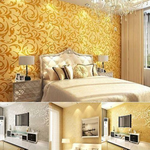 10m 3D Modern Non-woven Flocking Damask Embossed Wallpaper Wall Paper Rolls-LG