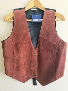 Vintage 1990s 90s Leather Snap Western Boho Hippy Vest Women/'s Size S M  Black Suede Leather Biker