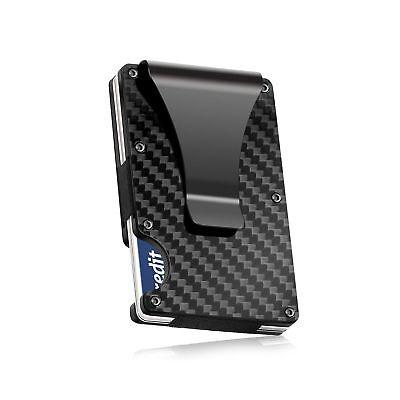 Carbon Fiber Front Pocket Money Clip RFID Blocking Wallet Gift Set