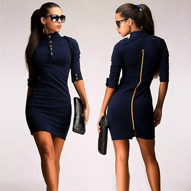 New Women Slim Bodycon Short Mini Dress Cocktail Evening Party Work Pencil Dress