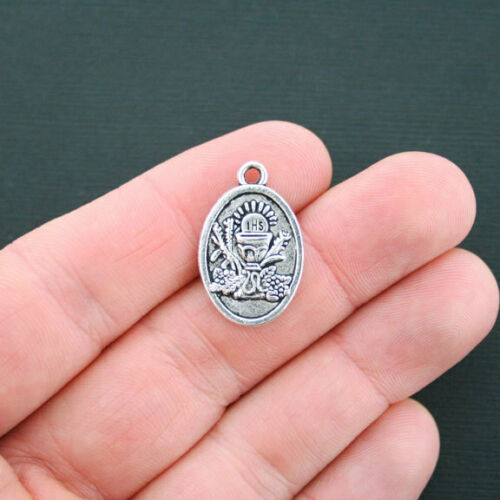 SC2189 5 First Communion Charms Antique Silver Tone 2 Sided Holy Communion