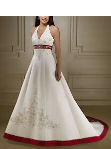 sale retailer 45bd8 5c0f2 Dettagli su Abito da sposa Bianco e Rosso - Wedding dress White and Red -  Impero - 00115B