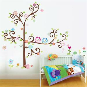 Removable Owl Couple Tree Kids Baby Nursery Wall Stickers