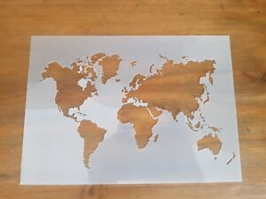 Details about World Map Atlas Stencil Re-usable - Crafting - Airbrush