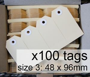 x100-SHIPPING-TAGS-size-3-plain-manilla-BUFF-Avery-swing-tags-labels-48-x-96mm