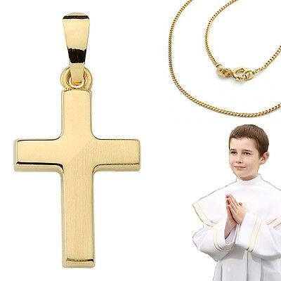 Aufrichtig Kreuz Anhänger Taufe Kommunion † Konfirmation Echt Gold 585 14 Kt Mit 925 Kette