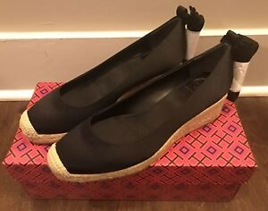 93d43742c73 Details about Tory Burch Women's Heather Lace Up 40mm Wedges Espadrille  Black Sz 5.5 NIB