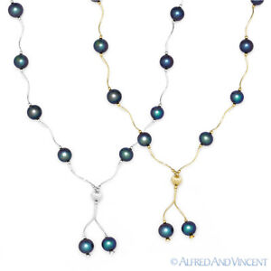8mm-Black-Freshwater-Pearl-Ladies-Beaded-Necklace-in-14k-Yellow-or-White-Gold