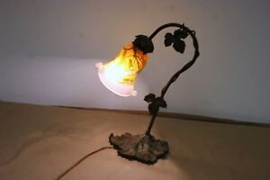 FRENCH-ART-DECO-STYLE-HANDMADE-BRONZE-TABLE-LAMP-GALLE-STYLE-BLOWN-GLASS-SHADE