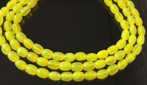 Vintage-Rare-Yellow-Color-Czech-Bohemian-Oval-glass-African-trade-beads