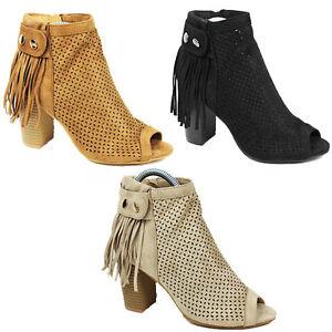WOMENS-LADIES-CHUNKY-BLOCK-HEEL-PEEP-TOE-TASSEL-ANKLE-BOOTS-SHOES-SIZE-3-8