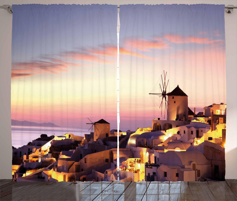 Molino de viento Cortinas Santorini Grecia Cortinas 2 panel de ventana de visualización Set 108x63 pulgadas