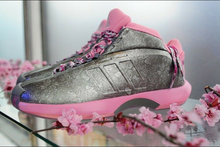 Adidas pazzo 1 fioraio john wall sz 8 fiori rosa d'argento, scarpe da basket kobe