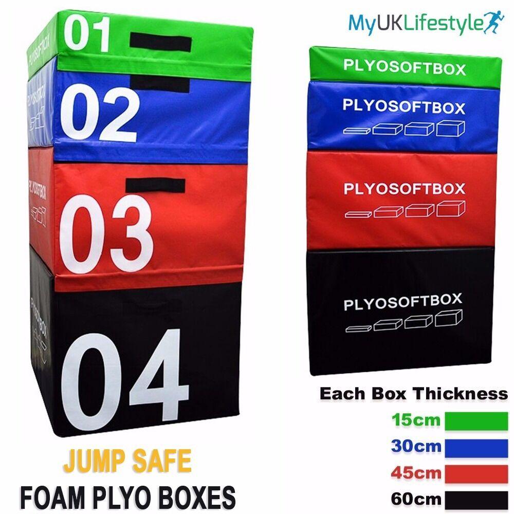 Plyometric Jump Box Soft Foam Velcro Training Gym Fitness Crossfit Jumping Set