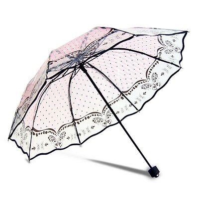 New Transparent Umbrella Fashion Printed Parasol Manual Open Close Rain Umbrella