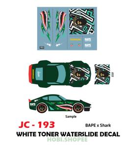 JC-9193 White Toner Waterslide Decal /> For Custom 1:64 Hot Wheels