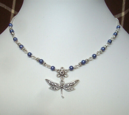 Dragonfly and Flower Pendant Purple Blue Pearl Beaded Chain Necklace in Gift Bag