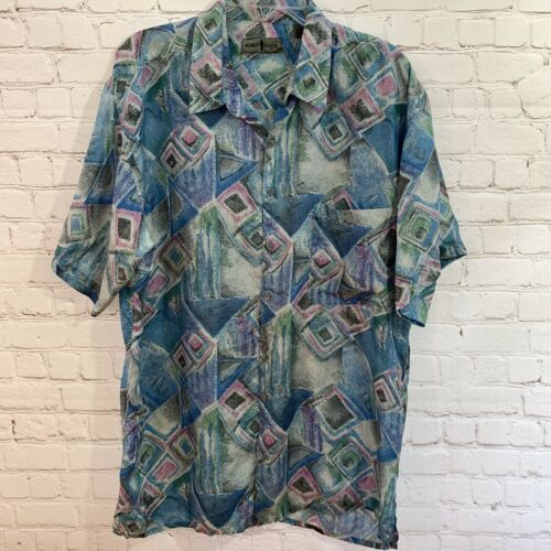 Vintage Robert Stock Silk Shirt Men's Large Lightw