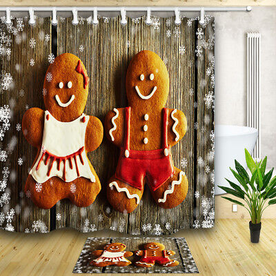 Gingerbread Man and Candy Cane Christmas Cookies Bathroom Fabric Shower Curtain