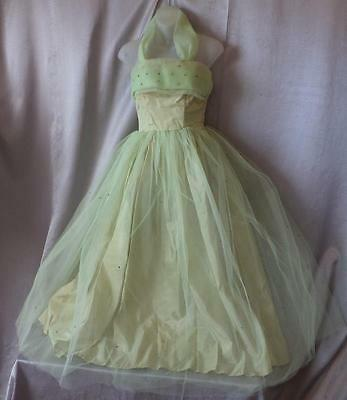 DIAPHANOUS SPARKLY TULLE vintage 1940s 1950s PROM PARTY COCKTAIL DRESS XS