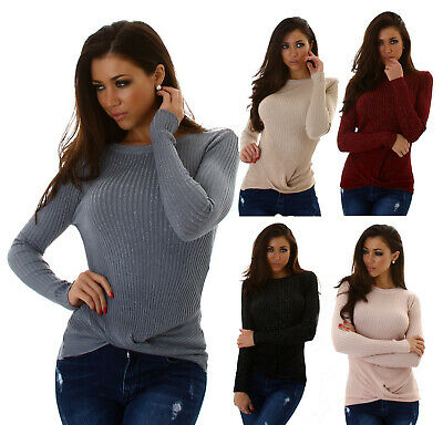 Damen Pullover V-Cut Strickpullover Strick Pulli mit Volant