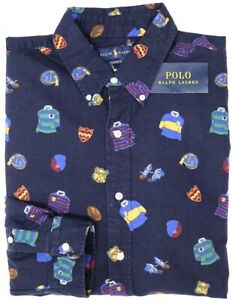 NEW-125-Polo-Ralph-Lauren-Long-Sleeve-College-Shirt-Mens-Navy-Blue-Oxford-NWT