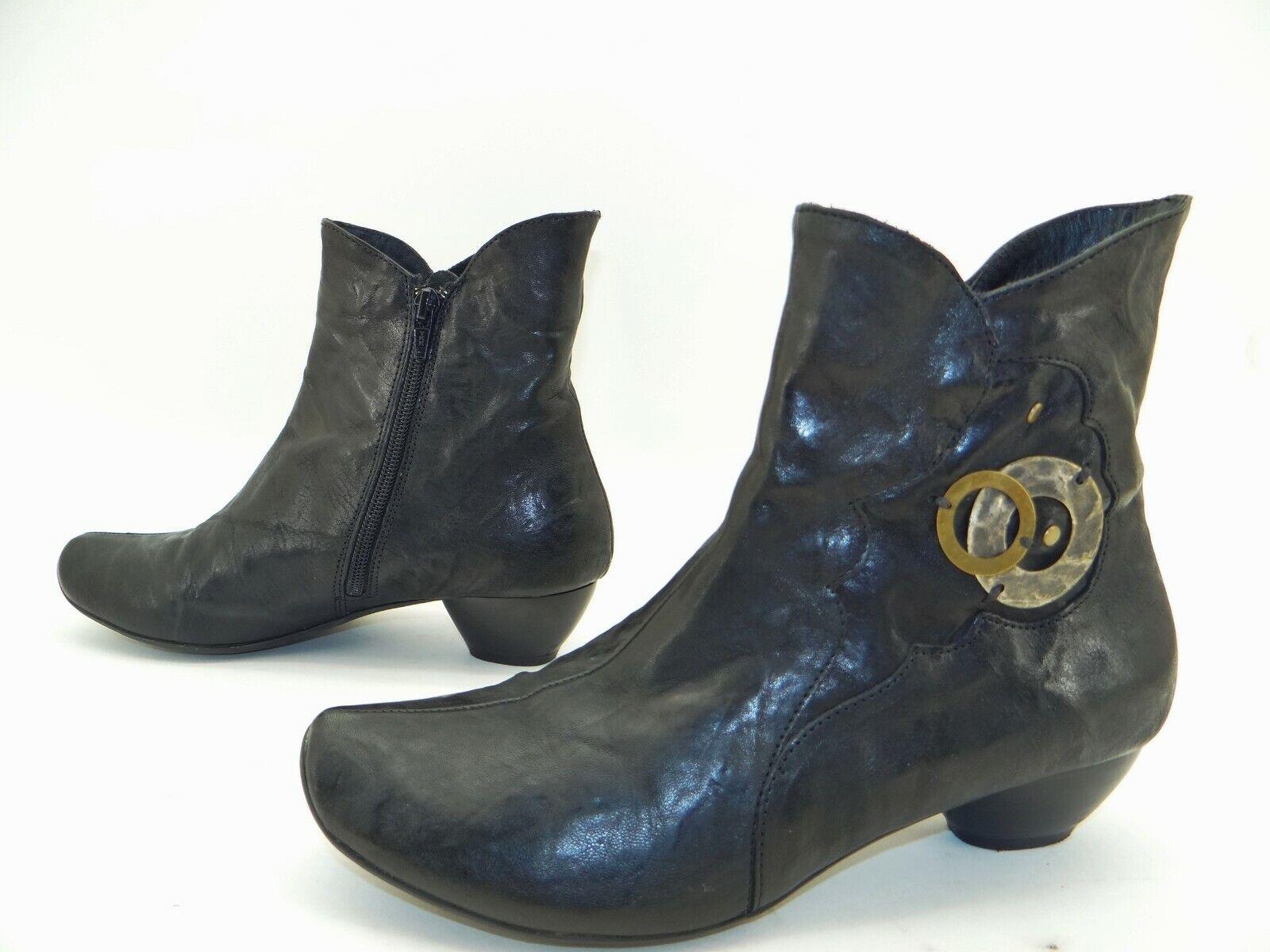 THINK Damen Stiefel Stiefel Stiefeletten Damenschuhe Leder Schwarz Neuwertig Gr 38