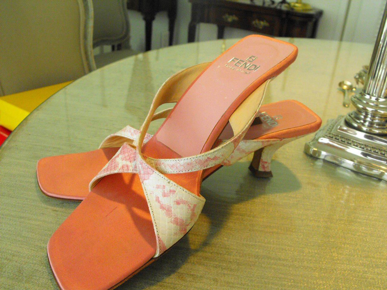 Delicious FENDI () Pink White Heeled Sandals w Two Lizard Straps & Heels 6M