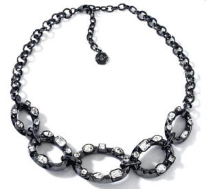 NIB-R-J-Graziano-034-Go-Chic-034-Multi-Shaped-Stone-Gunmetal-Oval-Station-Necklace