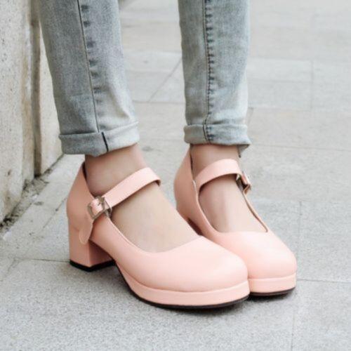 Lolita Fashion Femme Japonaise Round Toes Talon Haut Massif Cheville Sangle Chaussures NOUVEAU