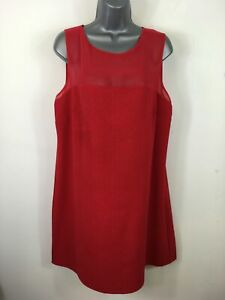 WOMENS-RED-HERRING-RED-TEXTURED-SLEEVELESS-SHORT-SUMMER-A-LINE-DRESS-UK-16