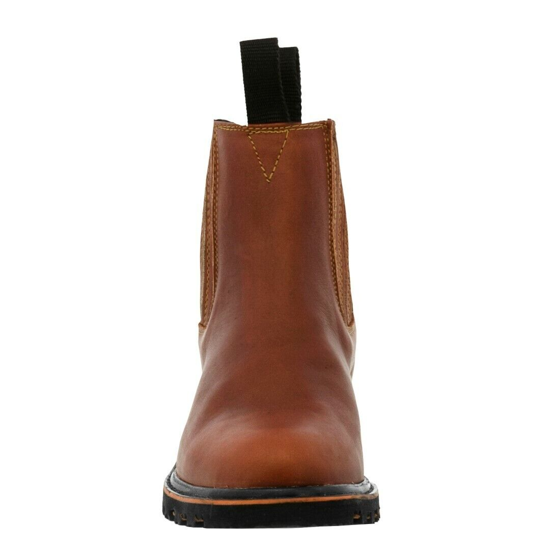 Mens Work Boots Soft Toe Chedron Genuine Leather Pull On Anti-Slip