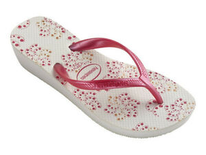 410725b9a5ff68 Havaianas Women`s Flip Flops High Light II White Pink Wedge Sandal ...