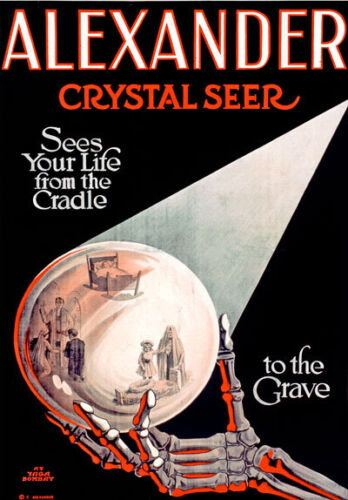 M45 Vintage Alexander Crystal Seer Magic Ball Theatre Poster Re-Print A4