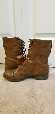 Womens Brash Brown Lace Up Combat Style