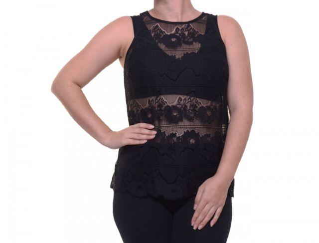 GUESS Women's Lace Black Top Size M