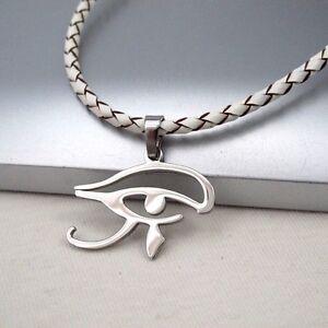 Ägyptischer Schmuck Edelstahl Ketten Anhänger Weiß Leder Halskette Geflochten äSthetisches Aussehen