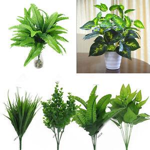 1PC Artificial Green Plants Fake Leaf Foliage Bush Home Office Garden Decor