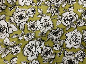 5-Metres-Kaki-Resume-Roses-Imprime-100-Coton-Popeline-Tissu