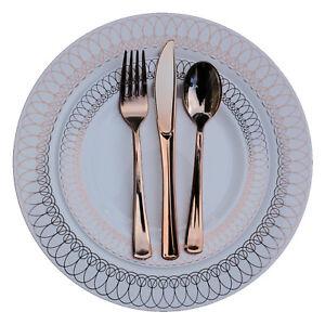 Image is loading Dinner-Wedding-Disposable-Plastic-Plates -&-silverware-Set-  sc 1 st  eBay & Dinner - Wedding Disposable Plastic Plates u0026 silverware Set ROSE ...