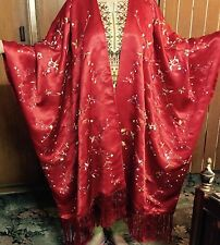 Antique Chinese Silk Hand Embroidered Piano Shawl Robe Red