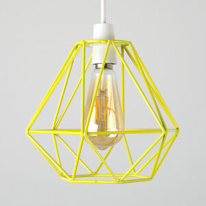 Industrial yellow metal wire diamond design ceiling light shade image is loading industrial yellow metal wire diamond design ceiling light keyboard keysfo Images