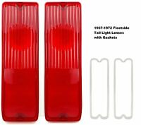 Pair 67-72 Chevy Truck Fleetside Tail Light Lamp Lenses C/k With Gaskets