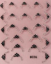 Nail Art 3D Decal Stickers Stars Tips with Rhinestones B036