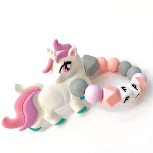 Baby Teether Unicorn Toy Personalised Silicone Teething Ring Teething Toy