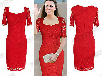 New Red Lace Bodycon Vintage Style 1950s Wiggle Pencil Celebrity Party Dress